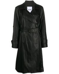 Koche Leather-finished Trench Coat - Black