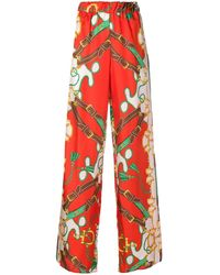 P.A.R.O.S.H. Floral Print Trousers - Red