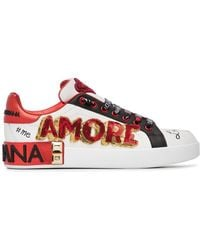 Dolce & Gabbana - White, Red And Black Amore Heart Embroidered Leather Trainers - Lyst