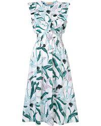 Tory Burch Платье С Цветочным Принтом И Оборками - Синий