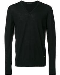 Versace Свитер Узкого Кроя С V-образным Вырезом - Черный