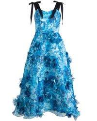 Marchesa notte フローラルアップリケ ドレス - ブルー