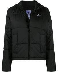 adidas キルティング クロップドジャケット - ブラック