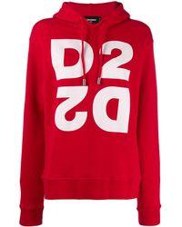 DSquared² Sweat à logo imprimé et capuche - Rouge