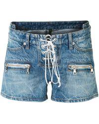 Unravel Project Pantalones vaqueros cortos con cordones - Azul