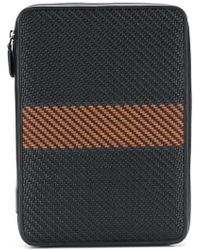 Ermenegildo Zegna Pelle Tessuta Laptop Bag - Black