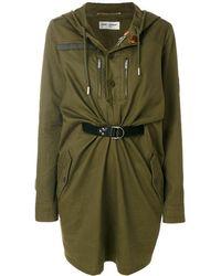 Saint Laurent Платье В Стиле Парки - Зеленый