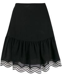 See By Chloé Striped Hem Georgette Skirt - Black