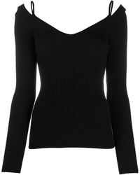 Mrz V-neck Fitted Knit Top - Black