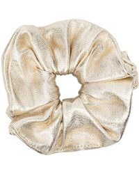 Manokhi Metallic Leather Scrunchie