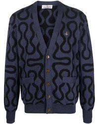 Vivienne Westwood Cardigan à motif jacquard - Bleu
