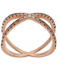 Eva Fehren 14kt Rose Gold The Fine Shorty Diamond Ring - Metallic