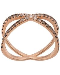 Eva Fehren 14kt Rose Gold The Fine Shorty Diamond Ring - Metallic