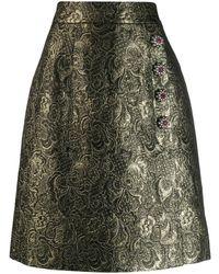 Dolce & Gabbana Embellished Brocade Skirt - Metallic