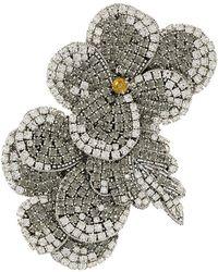 Rochas Crystal Flower Brooch - Metallic