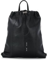 Kara Crystal Fringe Drawstring Backpack - Black