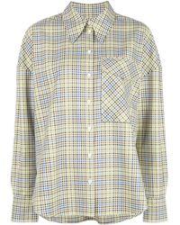 Tibi Клетчатая Рубашка С Нагрудным Карманом - Зеленый