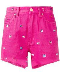 Tommy Hilfiger - Monogram Embroidery Denim Shorts - Lyst