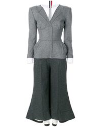 Thom Browne Flannel Anatomical Trompe L'oeil Jumpsuit - Gray