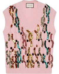 Gucci スパンコール ベスト - ピンク