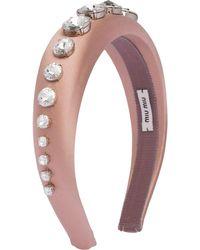 Miu Miu Crystal Satin Headband - Multicolour