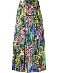 Gucci Feline Garden Print Skirt - Green