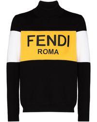 Fendi Свитер С Высоким Воротником И Логотипом - Черный