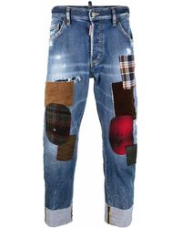 DSquared² Patchwork-detail Cropped Jeans - Blue