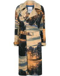 Koche Landscape-print Belted Trench Coat - Black
