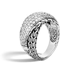 John Hardy Silver And Diamond Pave Classic Chain Overlapping Ring - Metallic