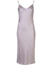 Adam Lippes Check Print Shift Dress - Purple