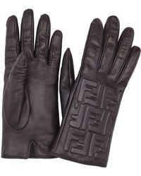 Fendi Leather Ff Embossed Gloves - Black