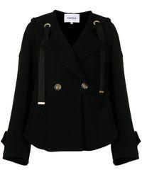 Enfold Chaqueta con doble botonadura y capucha - Negro