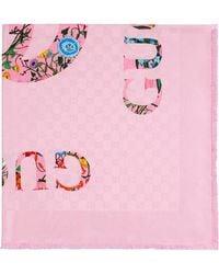 Gucci フローラル ジャカードスカーフ - ピンク