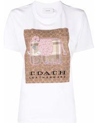 COACH Besticktes T-Shirt - Weiß