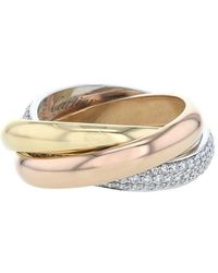 Cartier Золотое Кольцо Trinity Среднего Размера С Бриллиантами Pre-owned - Металлик