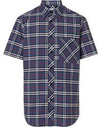 Burberry Shirt Met Ruiten - Blauw