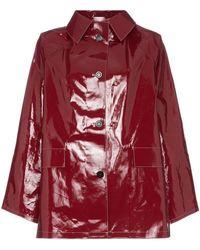 Kassl Button Down Patent Raincoat - Red