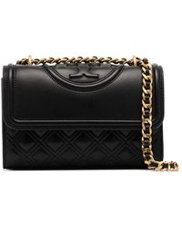 Tory Burch Fleming Leren Crossbodytas - Zwart