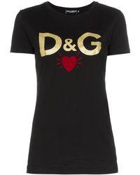 Dolce & Gabbana Logo Heart Print T-shirt - Black
