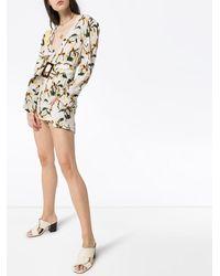 Adriana Degreas Mono corto con cinturón y estampado de orquídeas - Blanco