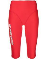 Marine Serre Sea-skin Logo Training Shorts - Red