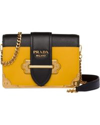 Prada Cahier Calf Leather Bag - Yellow