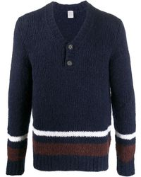 Eleventy Button Placket Sweater - Blue