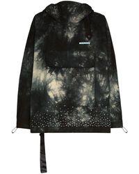 Off-White c/o Virgil Abloh Tie-dyed Crystal-embellished Hooded Jacket - Black
