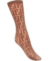 Fendi Носки С Вышитыми Логотипами - Коричневый