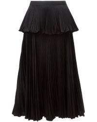 Issa Accordian Pleats Layered Skirt - Black