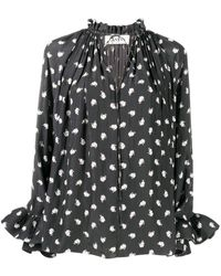 Lanvin Mother And Child Long-sleeve Blouse - Black