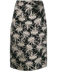 Rochas Jupe mi-longue à fleurs en brocard - Noir