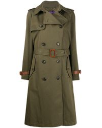 Ralph Lauren Collection Belted Double Breasted Silk Trench Coat - Green